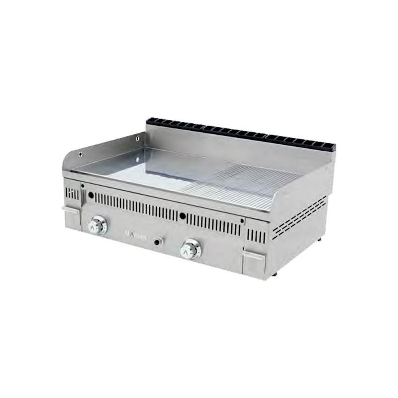 Fry Top liso/ranurado cromo duro Euro-Crom a gas  900mm PCR-90N con chimenea posterior Mainho