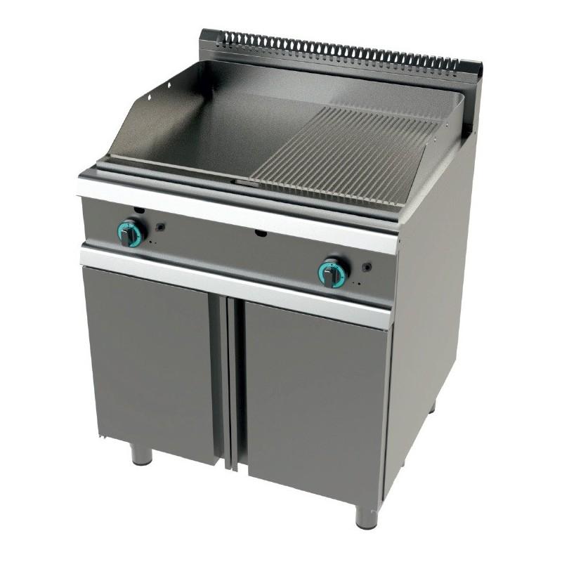Fry tops a gas acero laminado placa lisaacanalada con mueble Serie 900 JUNEX con medidas 800x900x850