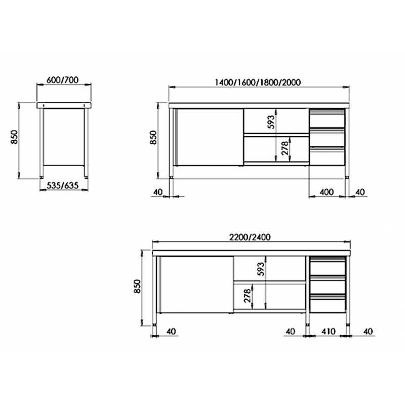 Mesa con puertas y cajones Gama 600 Distform