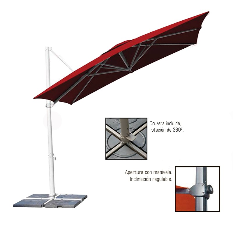 Parasol aluminio mástil lateral  3x3 m. Contract Basic Conva