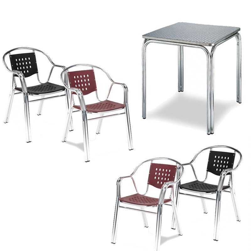 Pack mesa cuadrada con 4 sillones Muebles Romero