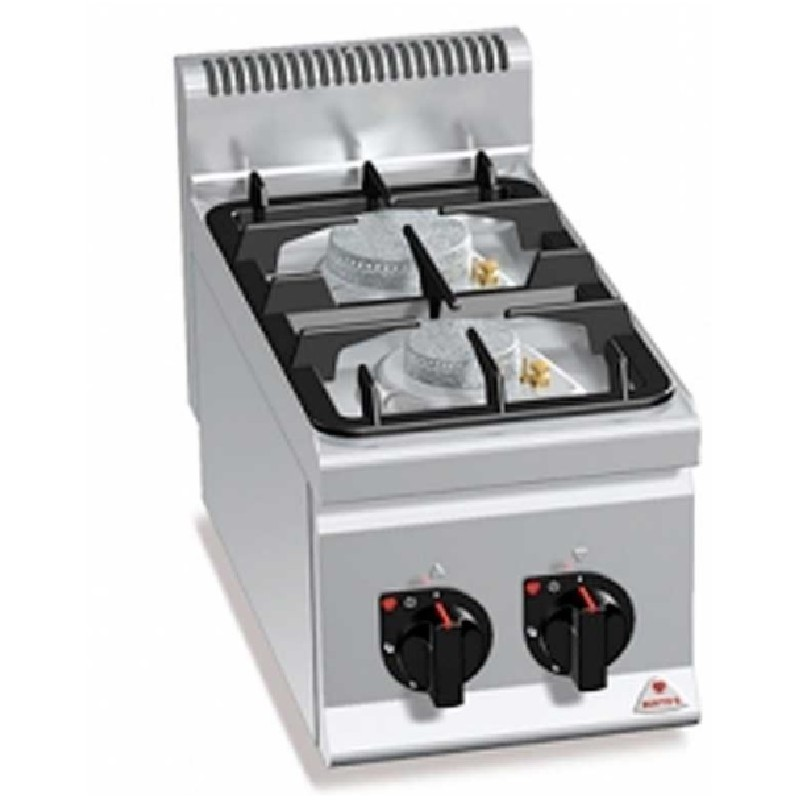 Cocina sobremesa eco 2 fuegos a gas serie eco power Plus 600 Bertos