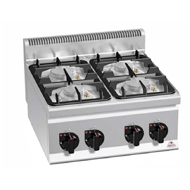 Cocina 4 fuegos a gas serie eco power Plus 600 Bertos
