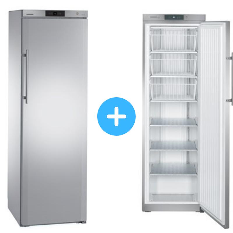 """Conjunto """"side by side"""" Armario frigorífico ventilado GKv 4360 + Congelador estático GG 4060 inox Liebherr"""