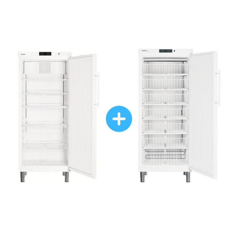 """Conjunto """"side by side"""" Armario frigorífico ventilado GKv 5710 + Congelador estático GG 5210 con cestos Liebherr"""
