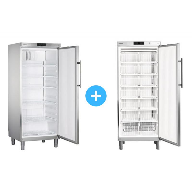 """Conjunto """"side by side"""" Armario frigorífico GKv 5760 + Congelador GG 5260 cestos Liebherr"""