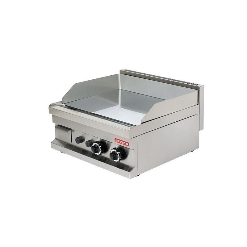 Fry tops a gas sobremesa liso acero 15 mm con baño cromo duro 2x4.8kw 600x600x265h mm GG606 Línea Es