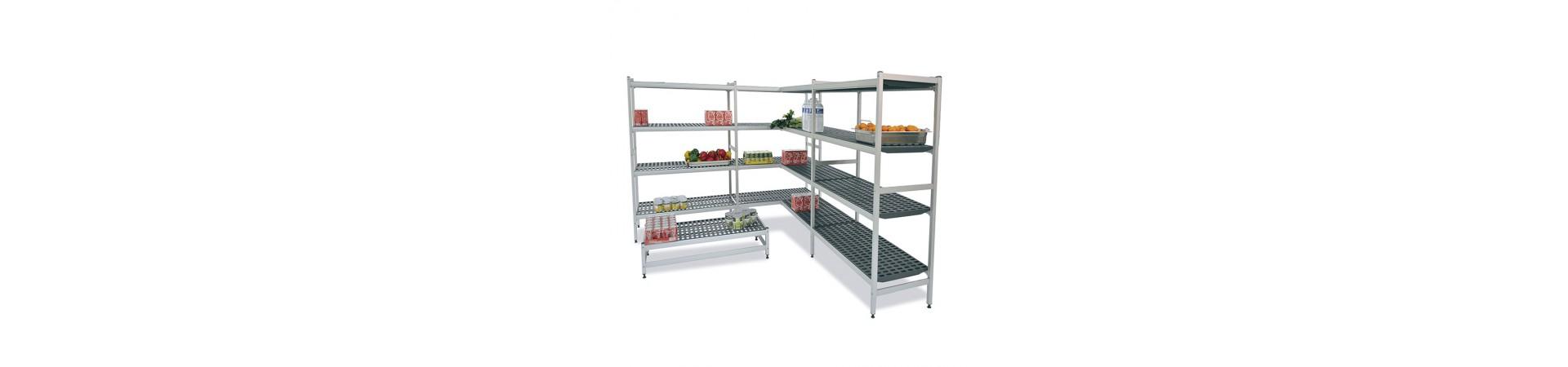 Estanterías de pared, de pie de acero inoxidables y de aluminio especiales para cámaras frigoríficas. Compra hoy con garantía.